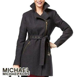 MICHAEL KORS Gray Asymmetrical Belted Coat XS